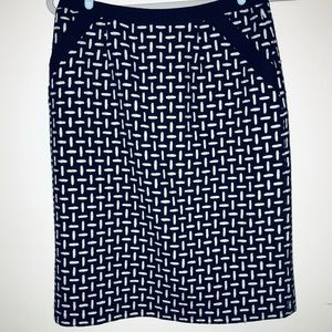 Talbots Skirt Wool Black White